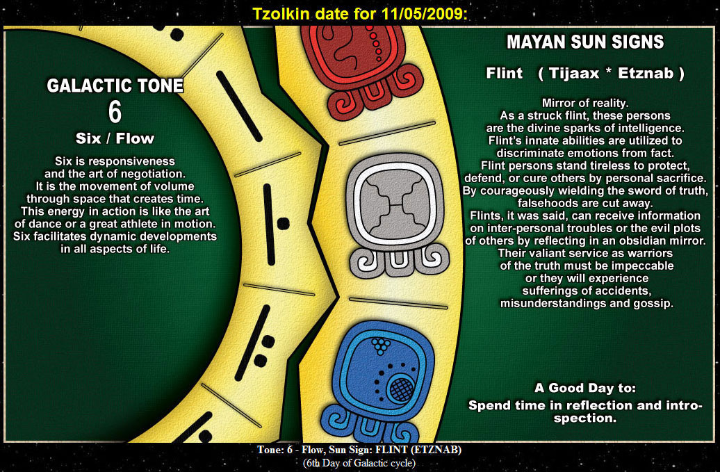 6 - Flint (Etznab) on the Mayan Tzolkin Calendar