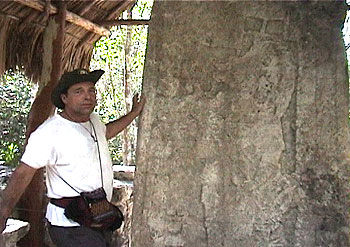 Ian Xel Lungold at the Mayan Calendar Stone