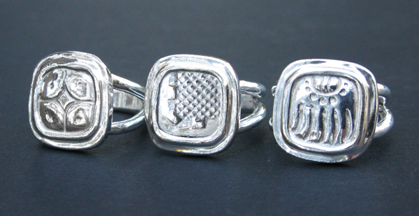 Mayan Sun Sign Rings in Sterling Silver